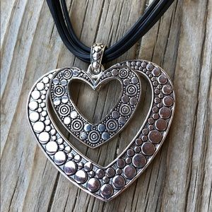 Silver Etched Metal Double Heart Necklace!